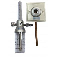 """Y-002 Зволожувач кисню """"МЕДИКА""""з розходоміром та настінним газовим клапаном (кисневою розеткою)"""