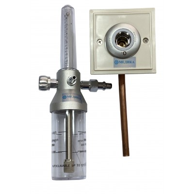 """Y-002 Увлажнитель кислорода """"МЕДИКА""""с расходомером и настенным газовым клапаном (кислородной розеткой)"""