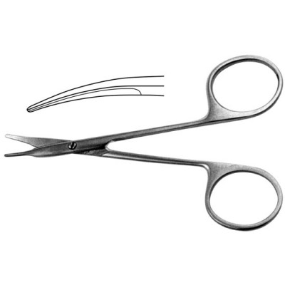 H-44 Corneal scissors vertically curved blunt 110 mm.