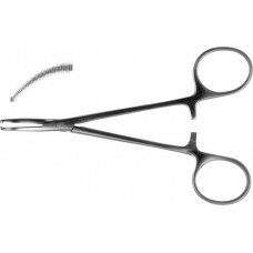 З-118  Curved on flat hemostatic forceps, 1x2 pronged, serrated, for newborn and early age infants 125 mm.