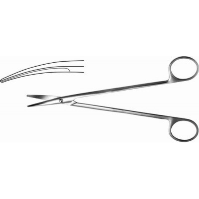 H-25 Scissors with rounded narrow blades vertically curved 175 mm.
